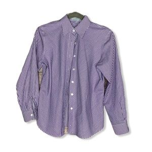 Foxcroft 2P Wrinkle Free Purple striped shirt top